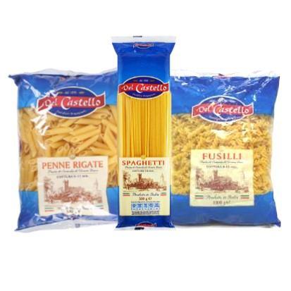 Tjestenina Castello penne rigate, spaghetti, fusilli 500 g