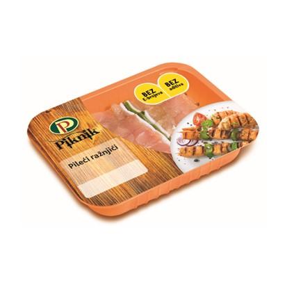 Pileći ražnjići Piknik sa slaninom i paprikom Perutnina Ptuj 400 g, svj.