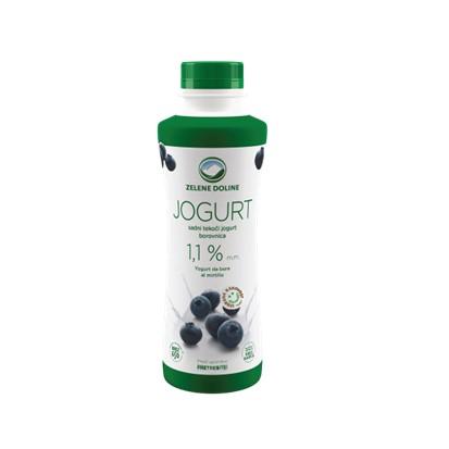 Tekući jogurt borovnica 1,1% m.m. Zelene doline 500 g