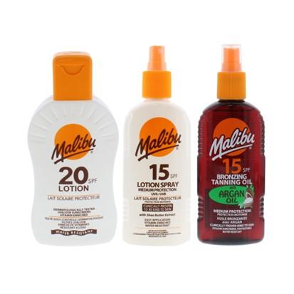 Losioni Malibu SPF 15, 20 i bronzing tan. oil Malibu SPF 15 with argan oil 200 ml