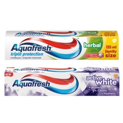 Zubna pasta Aquafresh active white, herbal, fresh&minty 125 ml